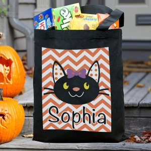 Black Cat Personalized Trick or Treat Bag