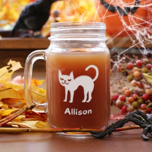 Engraved Halloween Cat Mason Jar