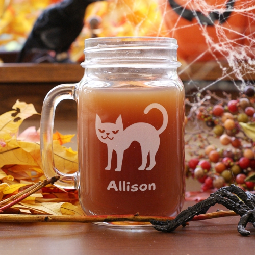 Engraved Halloween Cat Mason Jar L967771
