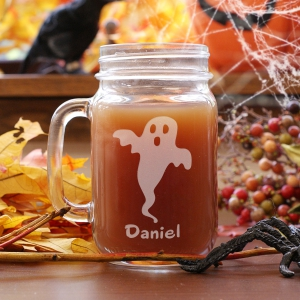 Engraved Halloween Ghost Mason Jar