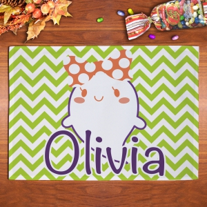 Personalized Chevron Ghost children's Placemat