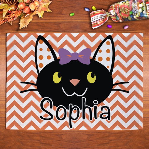 Personalized Halloween Cat Placemat U970121