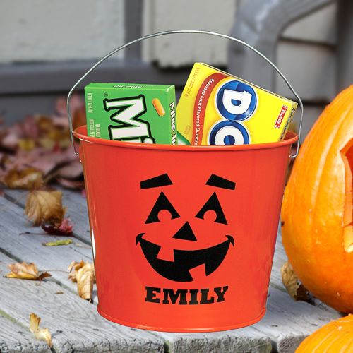 Personalized Orange Halloween Bucket | Personalized Trick-Or-Treat Bags