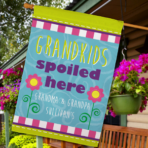 Personalized Grandchildren Spoiled Here House Flag
