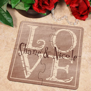 It's All About Love Personalized Coaster Puzzle