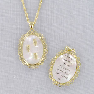 Goldtone Filigree Mother of Pearl Necklace