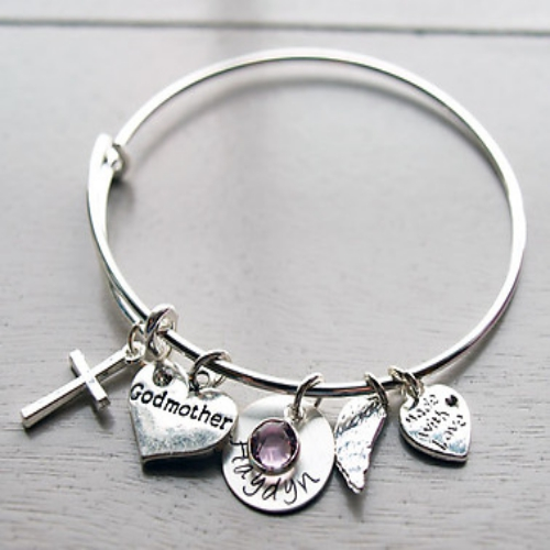 Godmother Hand Stamped Bracelet | Personalized Godmother Gifts