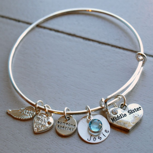 Personalized Middle Sister Bracelet | Personalized Sister Gifts