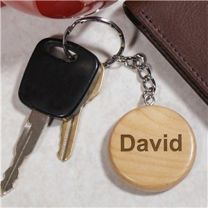 Engraved Name Wood Round Keychain | Personalized Gifts for Him