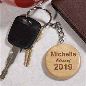 Engraved Class Of Wood Round Key Chain | Personalized Graduation Gifts