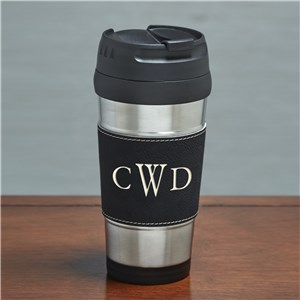 Engraved Initials Black Leather Travel Mug | Father's Day Gifts