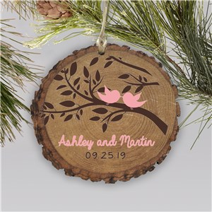 Personalized Love Birds Wood Couples Ornament | Personalized Couples Ornaments