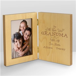 Personalized With All Our Heart Wood Frame | Personalized Gifts For Grandma