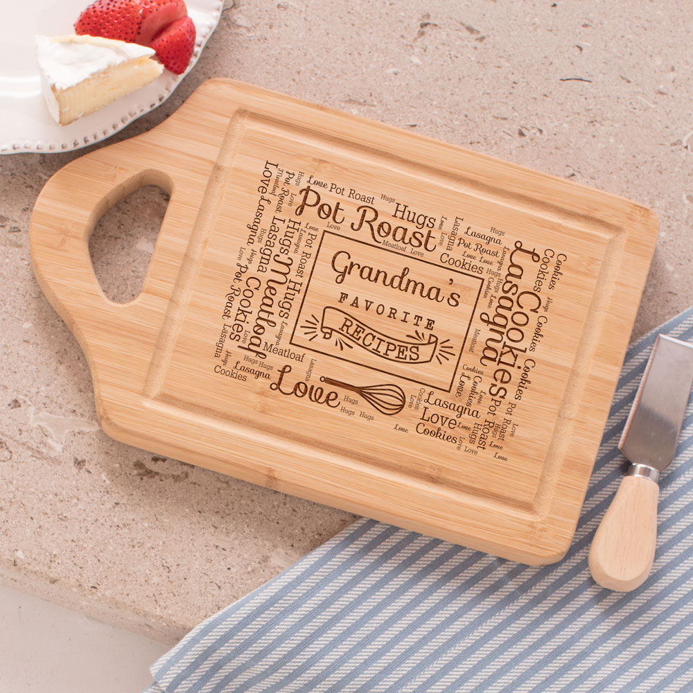 Engraved Favorite Recipes Word-Art Cutting Board | Personalized Gifts for Grandma