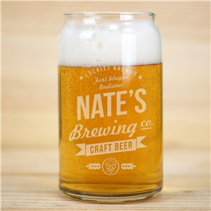 Engraved Craft Beer Brewing Co. Beer Can Glass | Personalized Barware