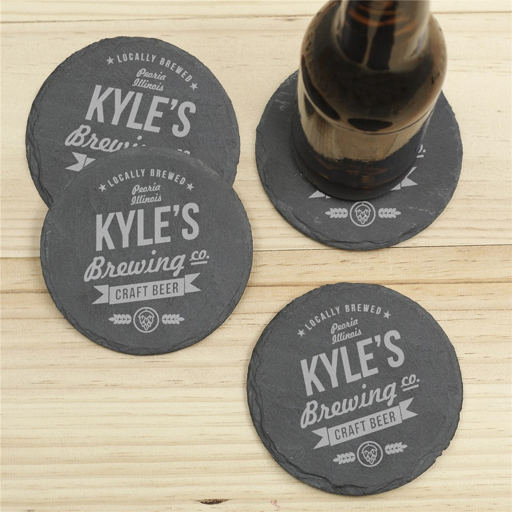 Personalized Craft Beer Brewing Co. Slate Coasters | Personalized Father's Day Gifts