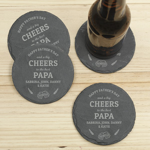 Personalized Cheers To Slate Coaster Set | Bar Gifts for Dad
