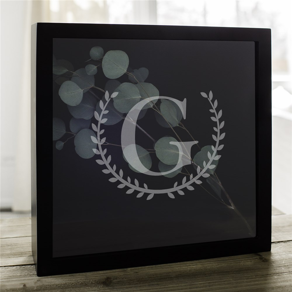 Personalized Laurel Initial Shadow Box | Mancave Gifts