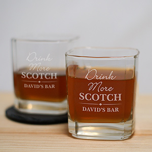 Personalized Drink More Rocks Glass – Set of 2