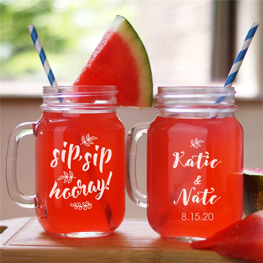 Engraved Sip, Sip, Hooray Wedding Mason Jar | Personalized Couple Gifts