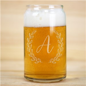 Engraved Single Initial Beer Can Glass | Engraved Glasses