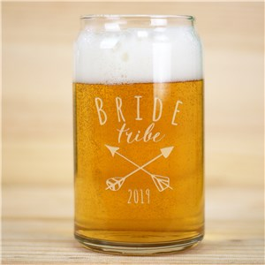 Engraved Bride Tribe Beer Can Glass | Personalized Bridesmaid Cup