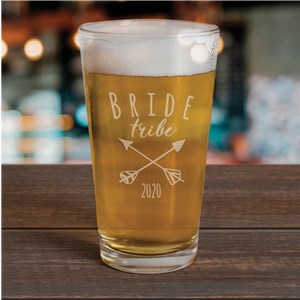 Engraved Bride Tribe Beer Glass | Personalized Bridesmaid Glasswa