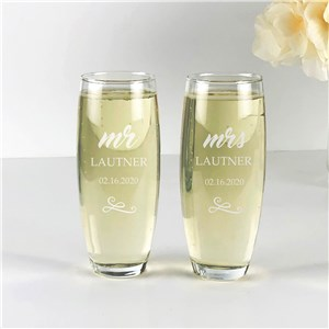 Engraved Wedding Glasses | Personalized Stemless Flutes
