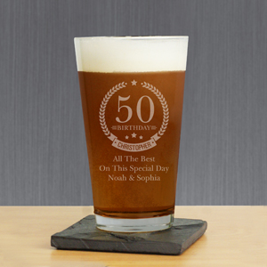 Engraved Birthday Beer Glass