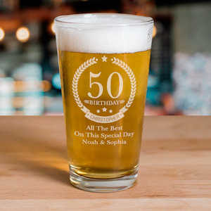 Engraved Birthday Wreath Beer Glass | Personalized Gifts for Him