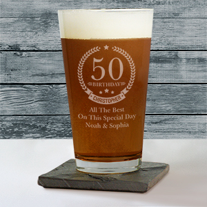 Engraved Birthday Wreath Beer Glass L10513142