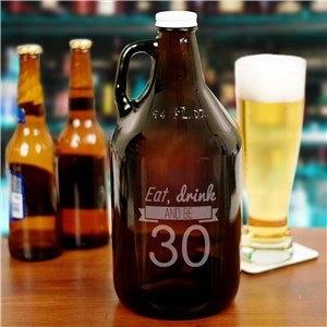 Engraved Eat, Drink Birthday Growler | Personalized Gifts for Him