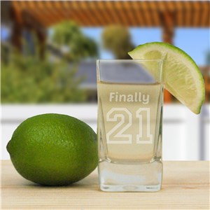 Engraved Birthday Message Square Shot Glass | Personalized Gifts for Him