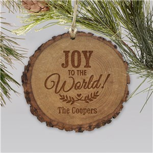 Personalized Joy to the World Rustic Wood Ornament | Personalized Christmas Ornaments