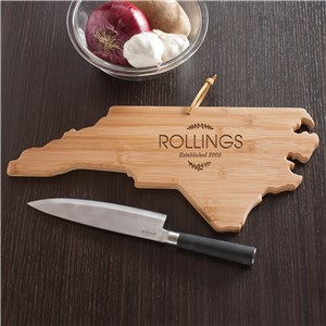 Personalized Family Name North Carolina State Cutting Board | Personalized Cutting Board