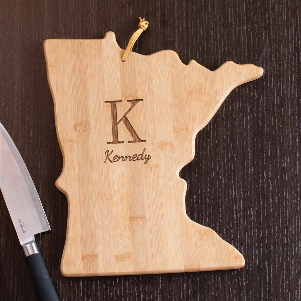 Personalized Family Initial Minnesota State Cutting Board | Personalized Cutting Boards