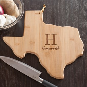 Personalized Family Initial Texas State Cutting Board | Personalized Cutting Board