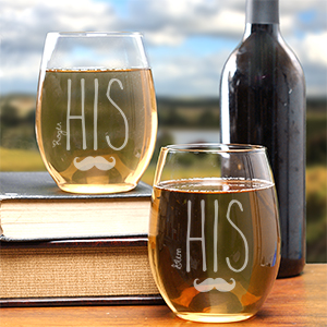 Engraved His & His Stemless Wine Glasses