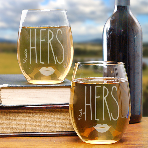 Engraved Hers & Hers Stemless Wine Glasses L1062995S2