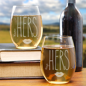 Engraved Hers & Hers Stemless Wine Glasses