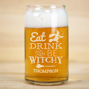 Engraved Eat, Drink, and Be Witchy Beer Can Glass L10630118