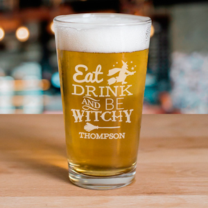Engraved Eat, Drink, and Be Witchy Beer Glass L10630142