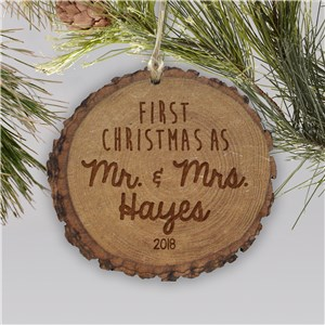 Engraved First Mr. & Mrs. Rustic Wood Ornament | Wedding Ornaments