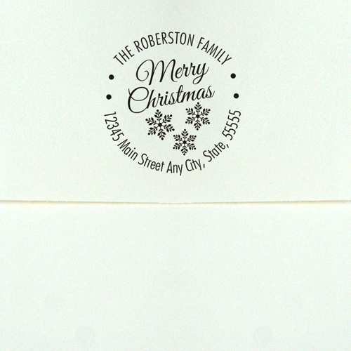 Personalized Merry Christmas Square Rubber Stamper | Personalized Address Stamp