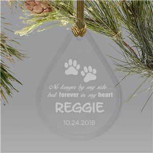 Engraved Pet Memorial Tear Drop Glass Ornament | Pet Memorial Ornament