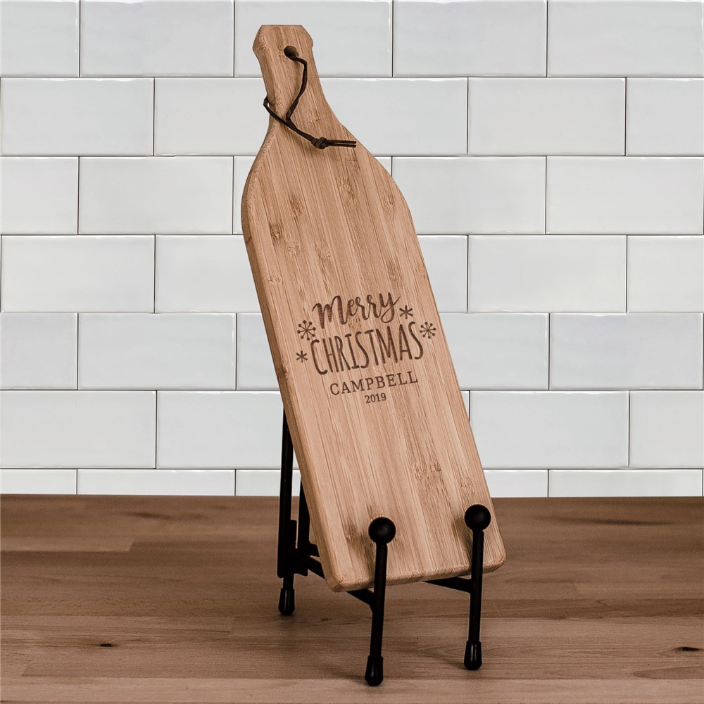 Merry Christmas Wine Bottle Cutting Board | Engraved Cutting Board