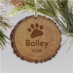 Engraved Paw Print Rustic Wood Ornament | Personalized Pet Ornaments