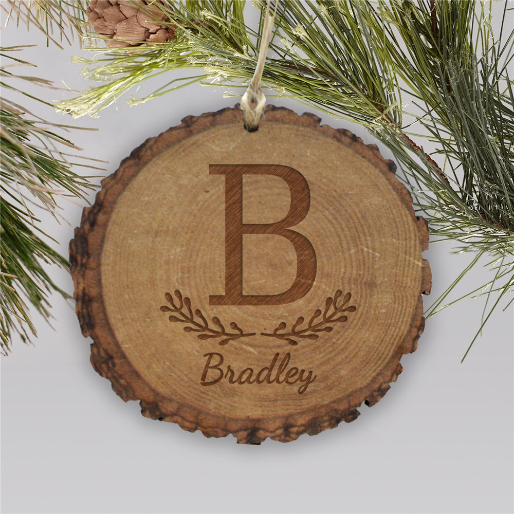 Engraved Family Initial Rustic Wood Ornament | Customized Christmas Ornament