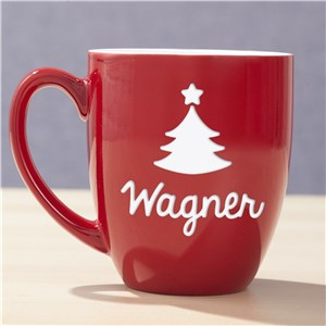 Engraved Christmas Red Bistro Mug | Personalized Christmas Mugs
