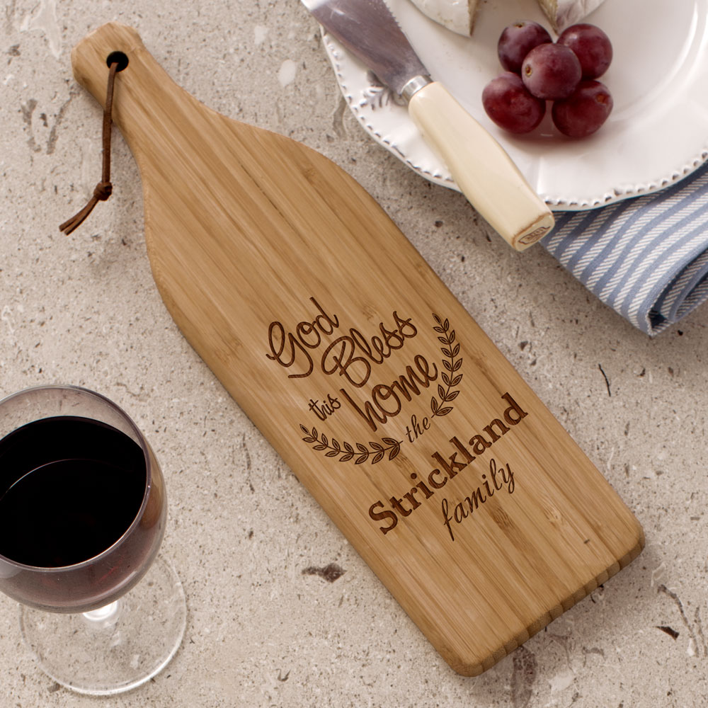 Engraved Bless this Home Large Wine Bottle Cutting Board L10976168X